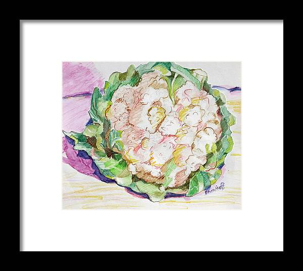 Cauliflower Framed Print featuring the painting Califlower by Jan Bennicoff