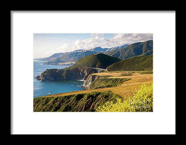 California Framed Print featuring the painting California Coast - A View Of Bixby Ap by Dan Carmichael
