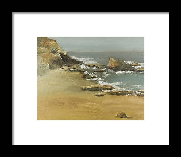 Seascape Framed Print featuring the painting California Coast by Joni Herman
