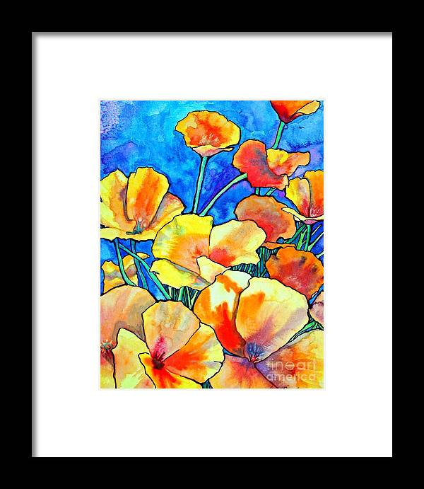 Floral Framed Print featuring the painting California Poppies by Gail Zavala