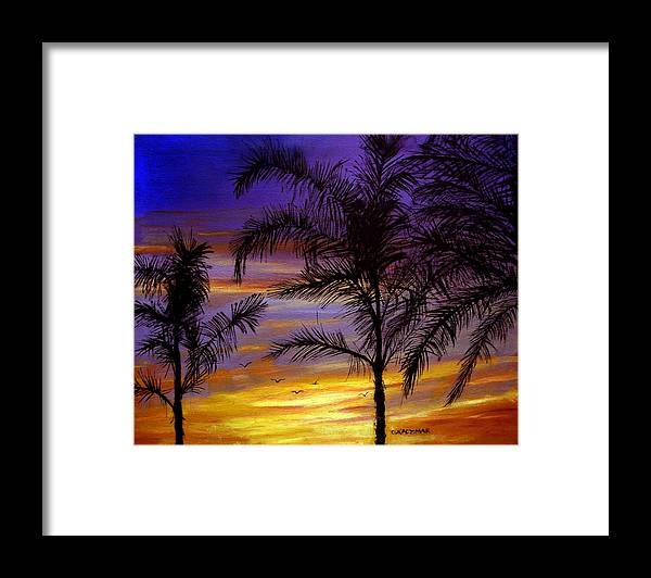 Landscape Framed Print featuring the painting California Sunset by Olga Kaczmar