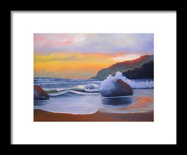 Orange Framed Print featuring the painting California Sunset by Sherry Winkler