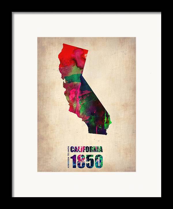 California Framed Print featuring the digital art California Watercolor Map by Naxart Studio