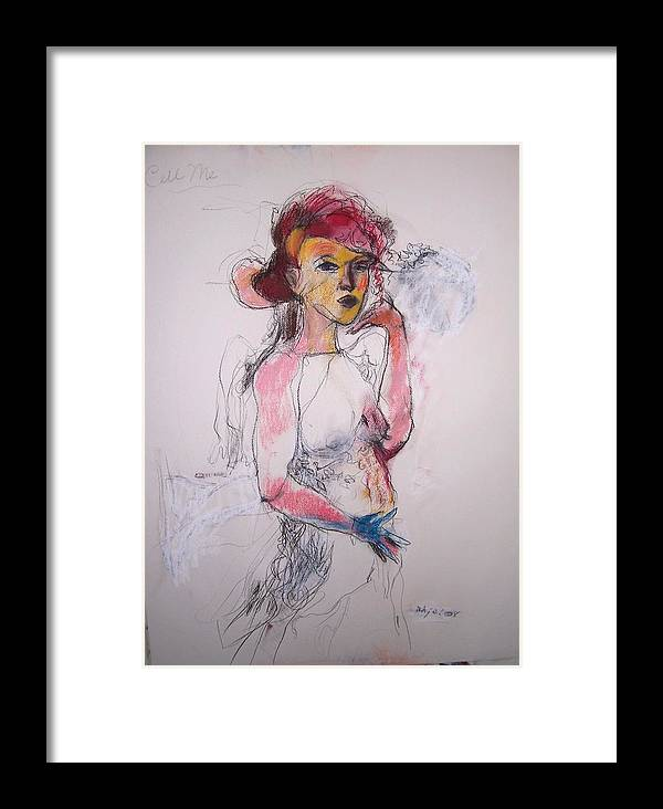 Charcoal Framed Print featuring the drawing Call Me by Mykul Anjelo