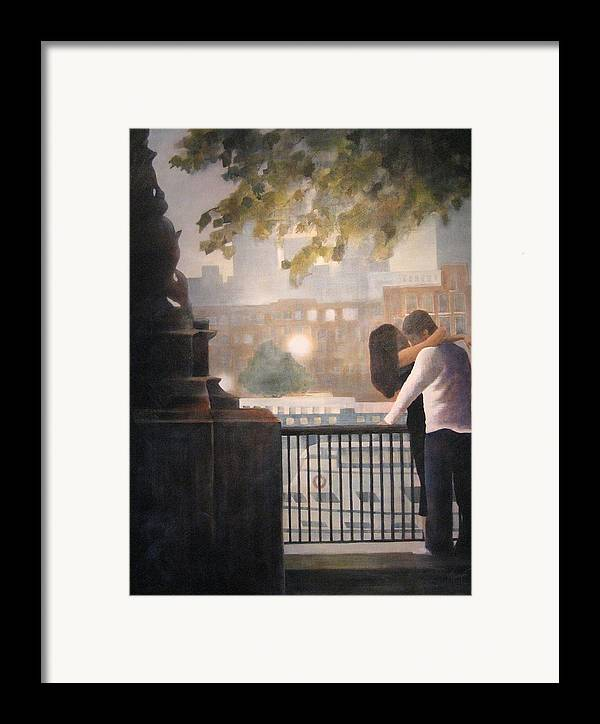 Lovers Framed Print featuring the painting Call Me by Victoria Heryet