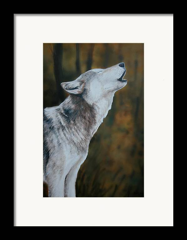 Wolf Framed Print featuring the painting Call Of The Wild by Charlotte Yealey
