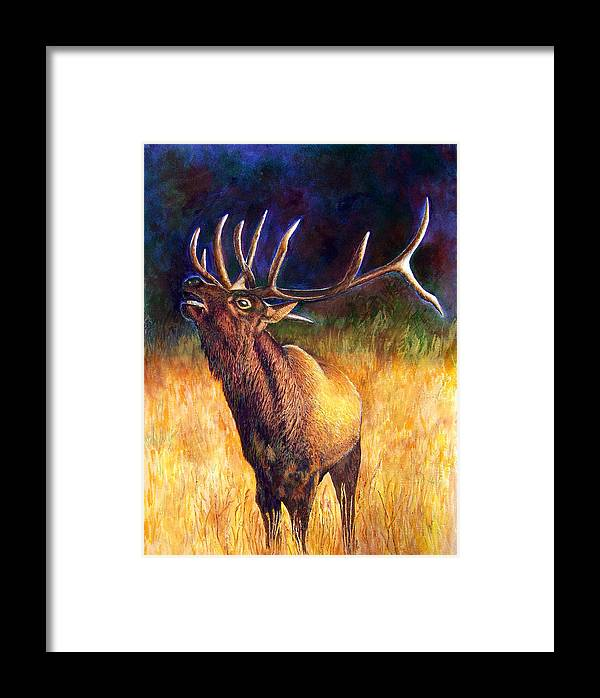 Elk Framed Print featuring the painting Call Of The Wild Elk by JoLyn Holladay