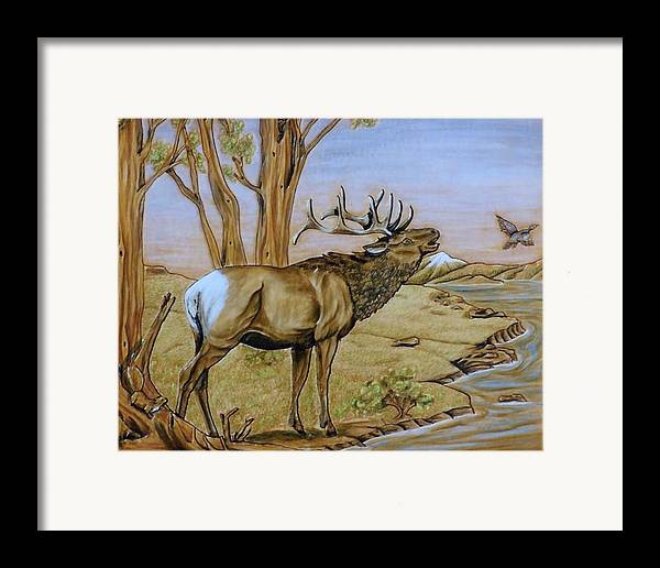 Aniamls Framed Print featuring the painting Call Of The Wild. by Lilly King