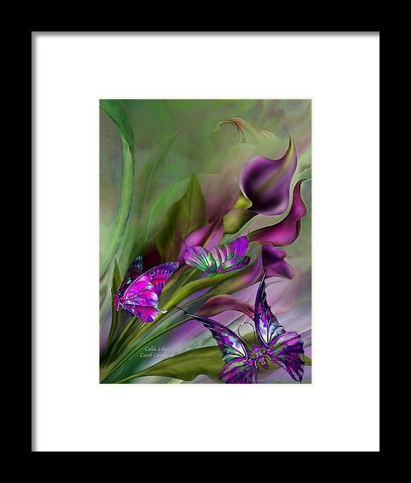 Calla Lilies Framed Print featuring the mixed media Calla Lilies by Carol Cavalaris