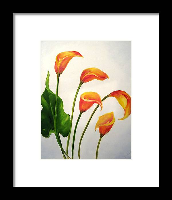 Calla Lilies Framed Print featuring the painting Calla Lilies by Carol Sweetwood
