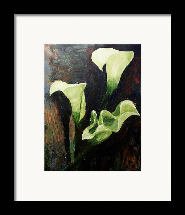 Nature Framed Print featuring the painting Calla Lilies by Mats Eriksson