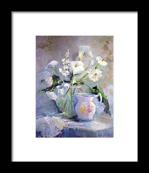 Flowers Framed Print featuring the painting Calla Lilly by Sally Seago