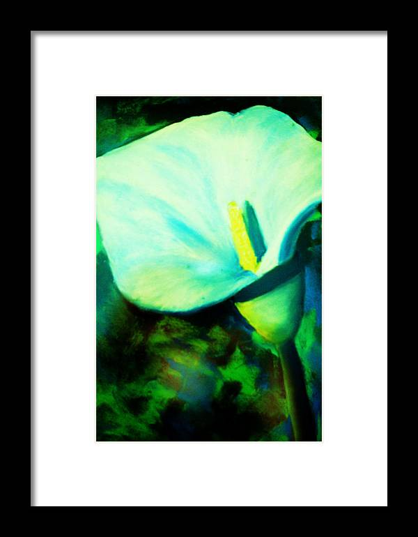 White Calla Lily Framed Print featuring the painting Calla Lily by Melinda Etzold