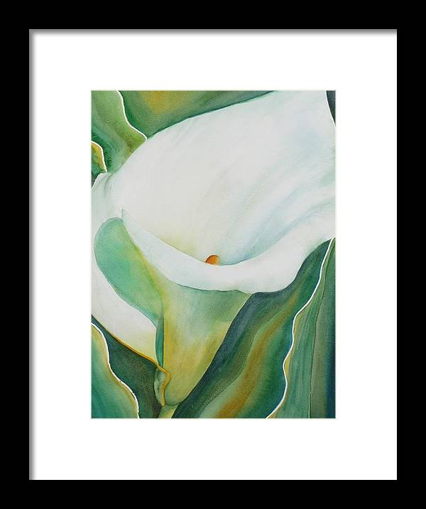 Flower Framed Print featuring the painting Calla Lily by Ruth Kamenev