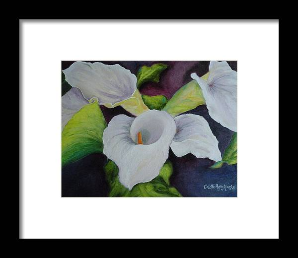 Floral Framed Print featuring the painting Callas by Colette Marks