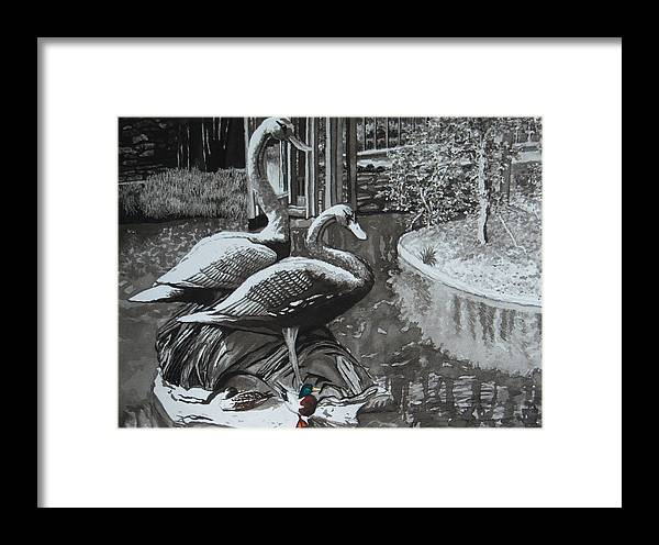 Landscape Framed Print featuring the painting Callaway Mallard Ducks by Beth Parrish