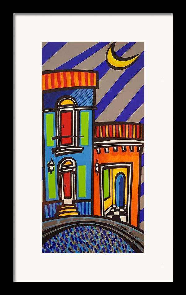 Puerto Rico Framed Print featuring the painting Calle Luna by Mary Tere Perez