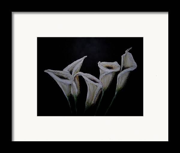 Floral Framed Print featuring the painting Calli Lillies In The Dark by Dyanne Parker