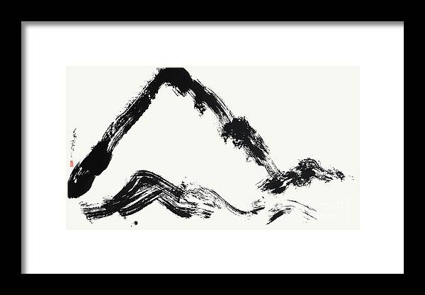 Mountain Painting Framed Print featuring the painting Calligraphic Mountain Painting In Zen Style by Nadja Van Ghelue