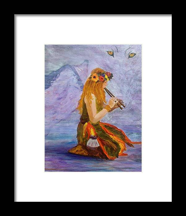 Framed Print featuring the painting Calling The Wolf Spirit by Tami Booher