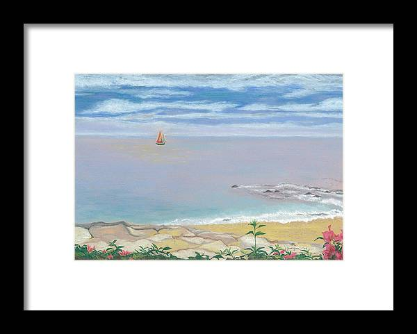 Sailboat Framed Print featuring the painting Calm Beach by Leslie Gustafson
