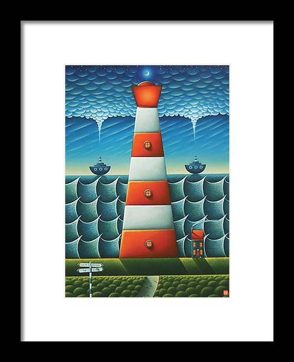Lighthouse Framed Print featuring the painting Calm Before The Storm by Connor Maguire
