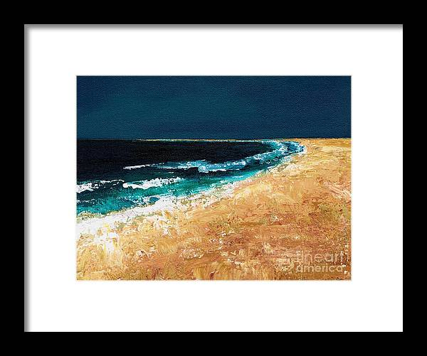 Ocean Tide Framed Print featuring the painting Calming Waters by Frances Marino