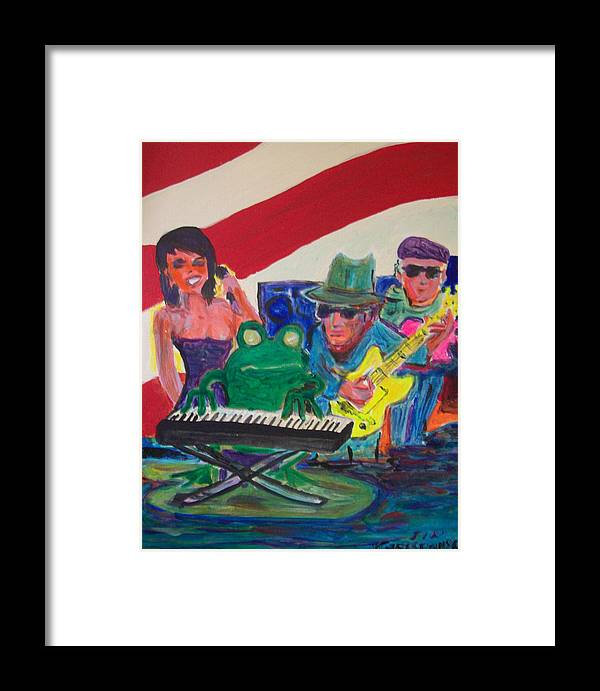 Frog Framed Print featuring the painting Calogs Frog Blues Band by James Christiansen