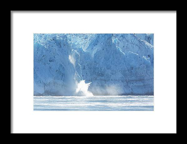 Darin Volpe Nature Framed Print featuring the photograph Calving - Hubbard Glacier, Wrangell-st. Elias National Park Alaska by Darin Volpe