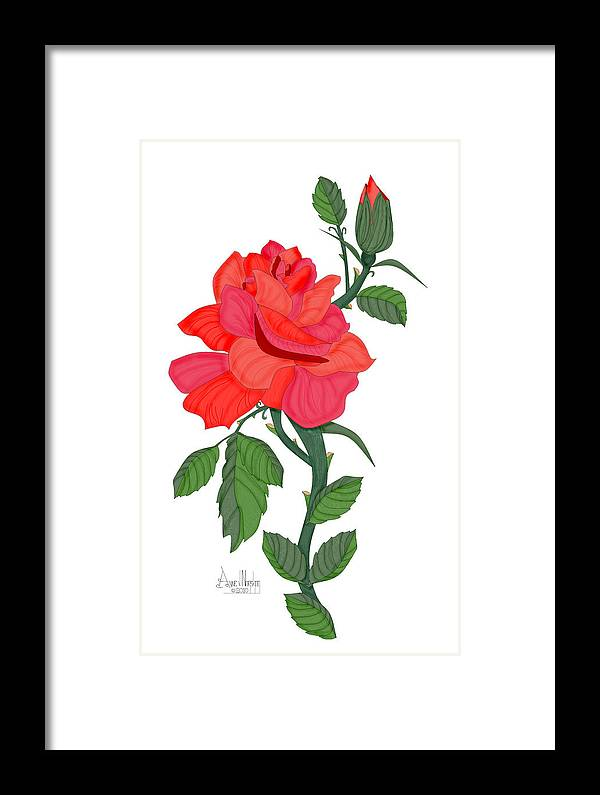 Red Rose Framed Print featuring the painting Calypso Rose by Anne Norskog