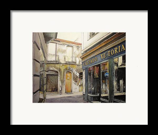 Calzados Framed Print featuring the painting Calzados Victoria-leon by Tomas Castano