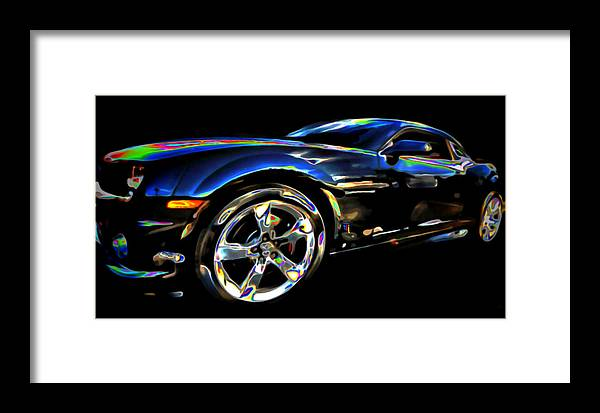 Tires; Bumpers; Grills; Lights; Doors; Blue; White; Gray; Black; Windows; Wheels; Transportations; Automobiles; Autos; Rims; Green; Red Framed Print featuring the digital art Camaro by Fli Art