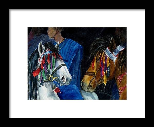 Equine Framed Print featuring the painting Camaroon by Gina Hall