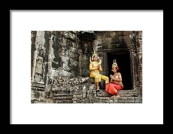 Asia Framed Print featuring the photograph Cambodian Dancers At Angkor Thom by Michele Burgess