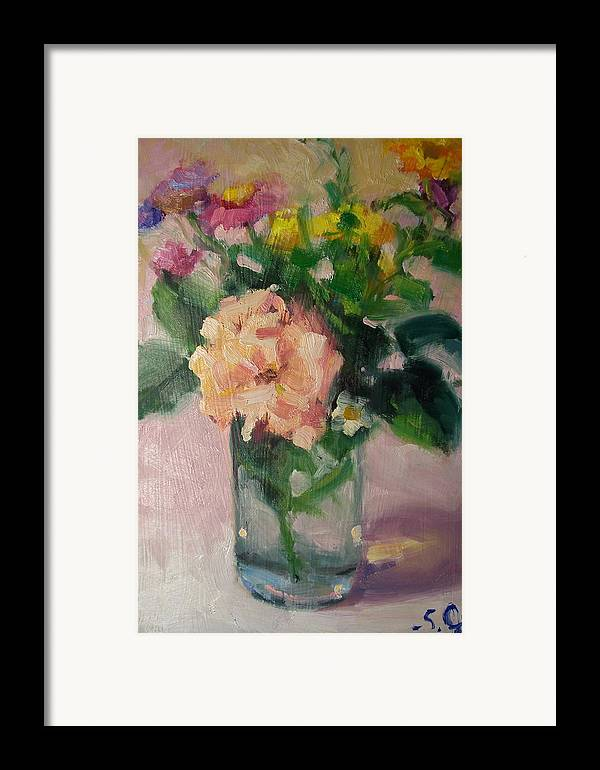 Painting Framed Print featuring the painting Cambria Flowers by Susan Jenkins