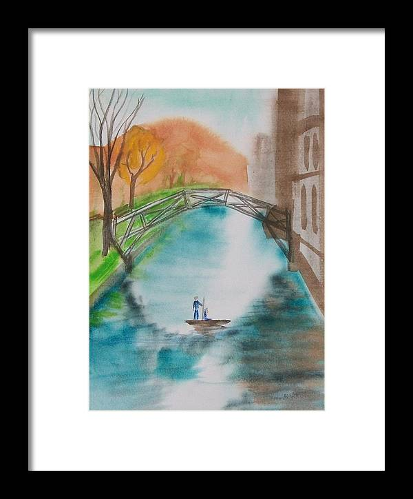 Cambridge Framed Print featuring the painting Cambridge River View by Leo Boucher