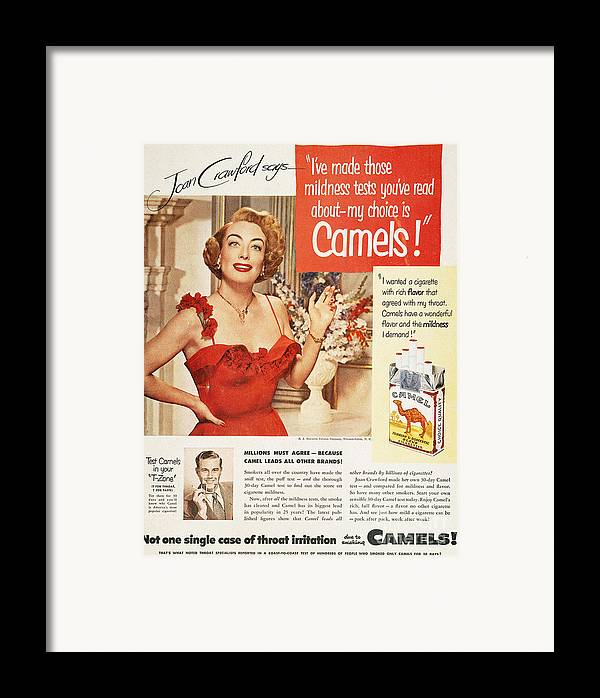 1951 Framed Print featuring the photograph Camel Cigarette Ad, 1951 by Granger