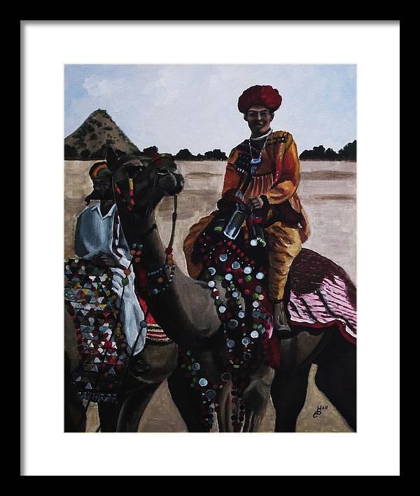 Acrylic Framed Print featuring the painting Camel Fair by Kim Selig
