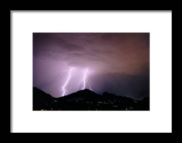 Lightning Framed Print featuring the photograph Camelback Scratch by Cathy Franklin