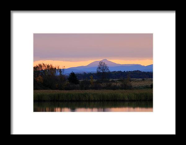 Dead Creek Framed Print featuring the photograph Camel's Hump Mountain From Dead Creek by John Burk