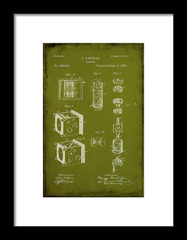 Patent Framed Print featuring the mixed media Camera Patent Drawing 2g by Brian Reaves
