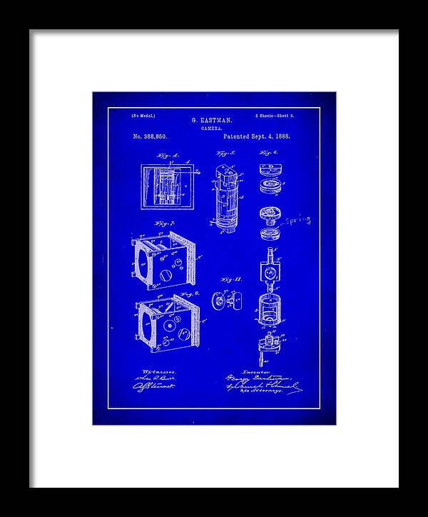 Patent Framed Print featuring the mixed media Camera Patent Drawing 2h by Brian Reaves