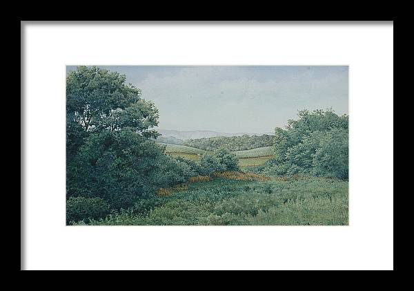 Landscape Framed Print featuring the painting Camillus Field by Stephen Bluto