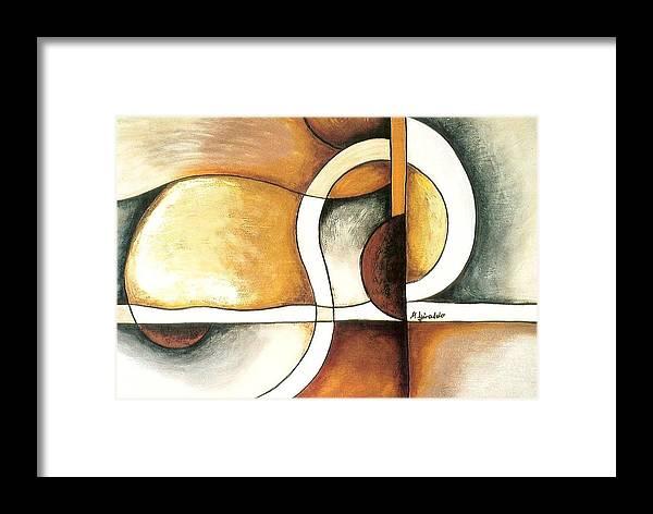 Contemporary Abstract Framed Print featuring the painting Camino Encontrado by Marta Giraldo
