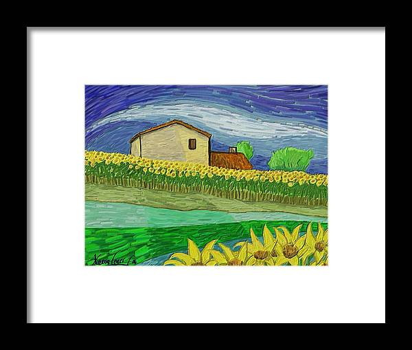 Figurative Framed Print featuring the painting Camp De Girasols by Xavier Ferrer