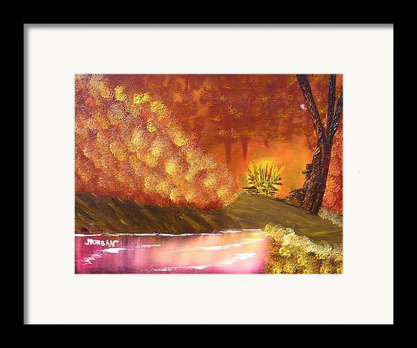 Campfire Sceneat Vthe End Of The Day Framed Print featuring the painting Campfire by Sheldon Morgan