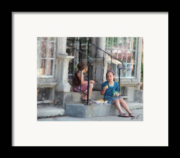 Children Sharing Swap Kids Girls Eating Snacks Lunch Relationships Friends Sisters Friendships Framed Print featuring the painting Can I Have One... by Eddie Durrett