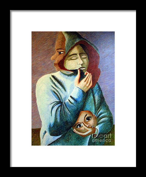 Identity (symbolic Art) Framed Print featuring the painting Can I Hide My Identity Can I Play A Role by Tanni Koens