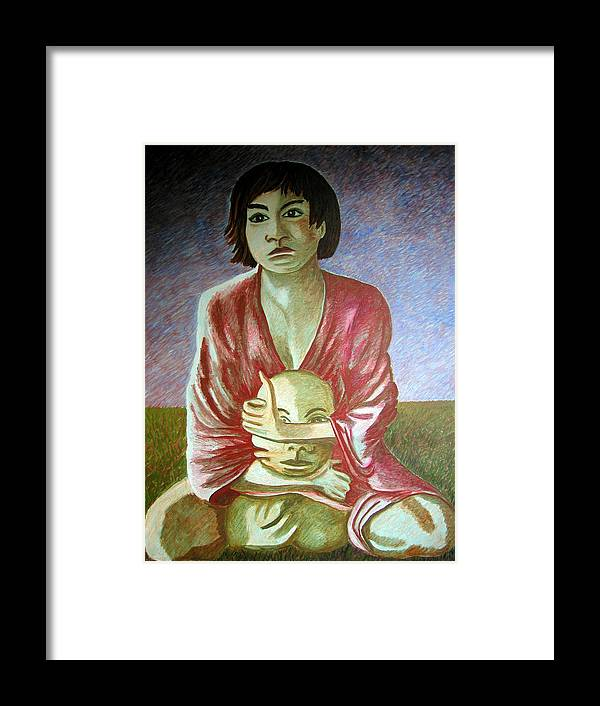 Identity (symbolic Art) Framed Print featuring the painting can we loose our identity via Alzheimer disease by Tanni Koens