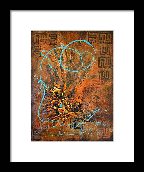 Non-representational Framed Print featuring the painting Can You Hear Me by Tara Milliken